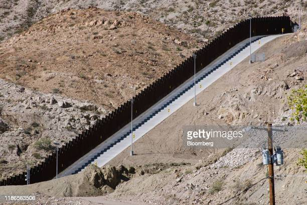 A section of a crowdfunded US and Mexico border wall stands in Sunland Park New Mexico US on Tuesday Oct 22 2019 We Build the Wall which has raised...
