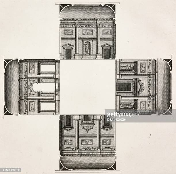 Section of a cubic hall , United Kingdom, Architect Campbell, engraving by Henry Hulsbergh from a drawing by Campbell, from Vitruvius Britannicus or...