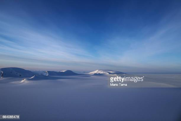 A section of an ice field is seen from NASA's Operation IceBridge research aircraft on March 30 2017 above Ellesmere Island Canada The ice fields of...