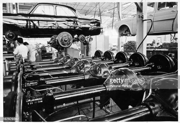Section of assembly area for passenger cars at the Sao Bernardo do Campo Plant of the Willys Overland Company in Sao Paulo, Brazil, 1970.
