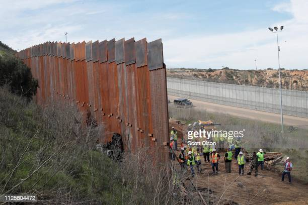 A section of border wall is constructed on the US side of the border on January 28 2019 in Tijuana Mexico The US government had been partially shut...