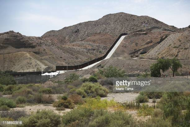 A section of border wall put in place by We Build The Wall Inc stands on June 26 2019 in Sunland Park New Mexico We Build the Wall is a nonprofit...