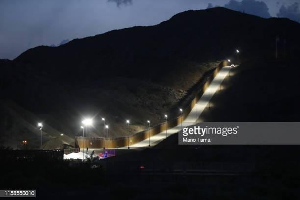 A section of border wall put in place by We Build The Wall Inc stands at dusk on June 26 2019 in Sunland Park New Mexico We Build the Wall is a...