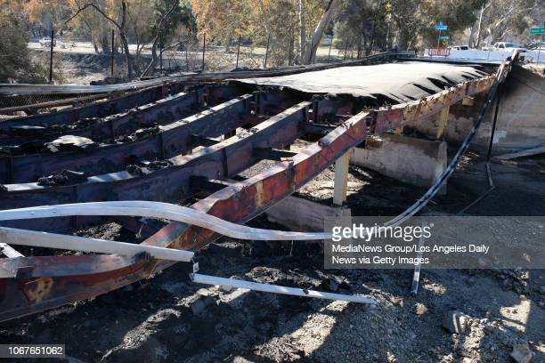 A section of Mulholland Highway near Kanan road was completely destroyed by the Woolsey fire