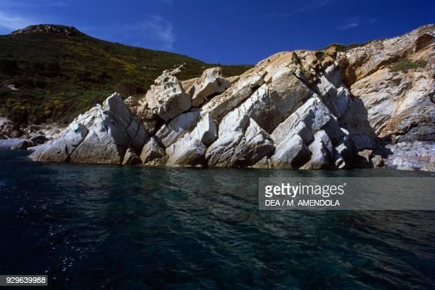 A section of rocky coast Elba island Tuscan Archipelago National Park Tuscany Italy