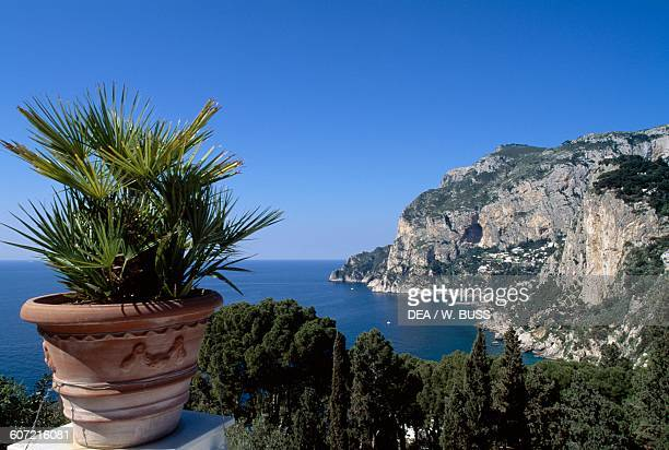 A section of rocky coastline on the Island of Capri Campania Italy
