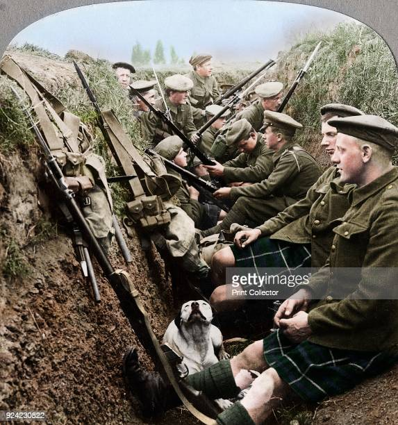 A section of Seaforth Highlanders snatching a moments respite World War I c1914c1918 Stereoscopic card Detail Artist Realistic Travels Publishers