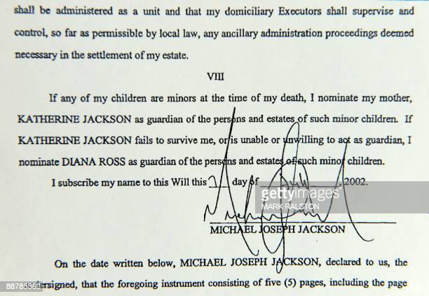 Section of the 2002 will of music legend Michael Jackson that was filed at Los Angeles Superior Court in Los Angeles on July 1, 2009. Documents filed...