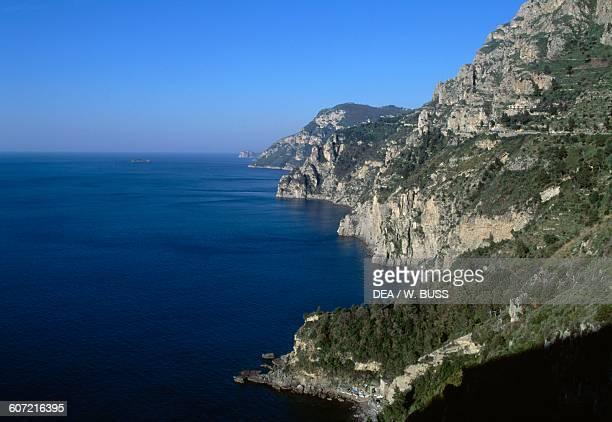 A section of the Amalfi coast west of Positano Campania Italy