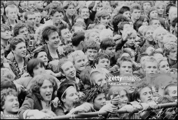 A section of the audience during a performance by British punk band The Damned at the Northern Carnival Against Missiles a festival in aid of CND...