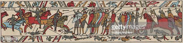 1066 A section of the Bayeux Tapestry an embroidered cloth 231 feet long depicting the Norman Conquest of England and the Battle of Hastings
