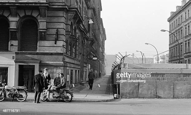 A section of the Berlin Wall in the middle of the street in Berlin Germany 1961
