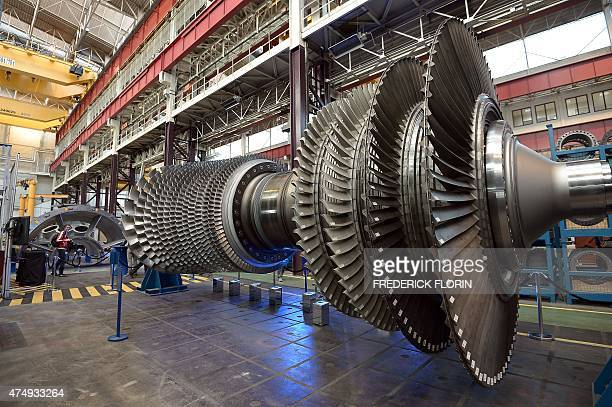 A section of the biggest and the most powerful gas turbine the 9HA Gas Turbine is seen at the US conglomerate General Electric plant in Belfort...