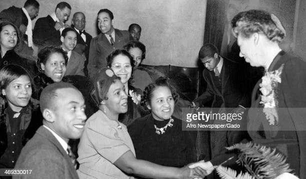 Section of the community choir, part of Southside Community Center, sang several selections for Mrs Eleanor Roosevelt, First Lady and wife of...
