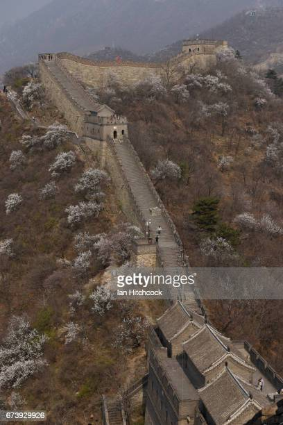 A section of the Great Wall of China is seen on April 5 2017 in Mutianyu China