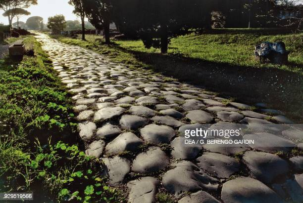 Section of the Roman road called Via Appia Ostia Antica Lazio Italy Roman civilisation