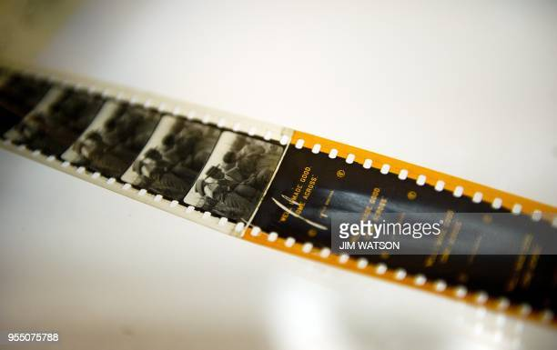 """Section of the silent film """"Little Brother"""" which shows a splice with tinting at the Library of Congress Packard Campus for Audio Visual Conservation..."""