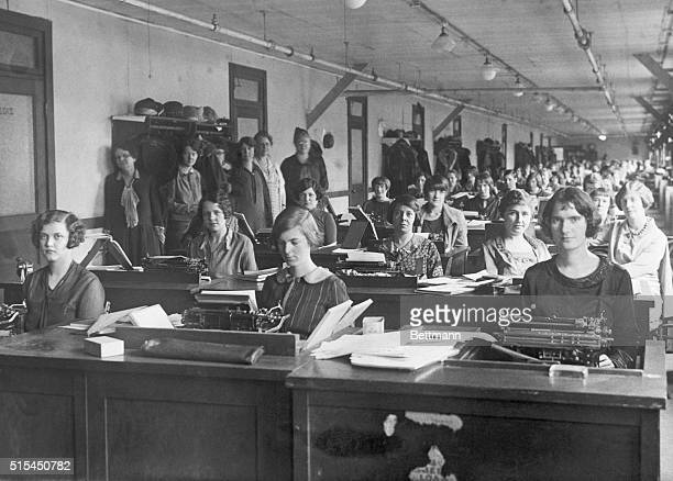 A section of the stenographic section of the Income Tax Unit of the Bureau of Internal Revenue where 250 stenographers are kept constantly at work...