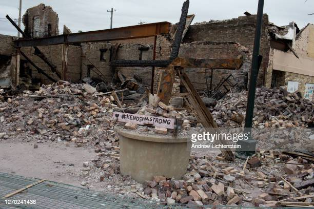 A section of the Uptown neighborhood remains in ruins after last week's rioting on September 1 in Kenosha Wisconsin President Trump came to tour...