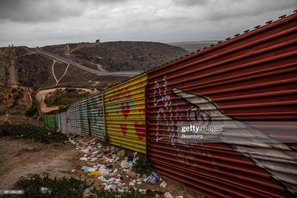 A section of the U.S.-Mexico border wall stands in Tijuana, Mexico, on Monday, May 21, 2018. 'We won't care about threats of a wall,' National Regeneration Movement Presidential candidate Andres Manuel Lopez Obrador announced assuring another rally crowd in Zacatecas, one of the states that sends the most migrants to the U.S., that with him in power, they'll achieve equal footing with their neighbors to the north. Photographer: Alejandro Cegarra/Bloomberg via Getty Images