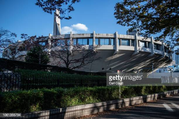 A section of Yoyogi National Stadium is pictured on November 14 2018 in Tokyo Japan The 13291 seat stadium is set to host handball during the Tokyo...