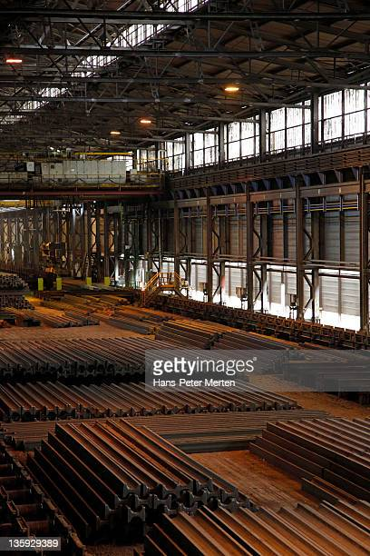 sectional steel depot at steel mill - esch sur alzette stock pictures, royalty-free photos & images