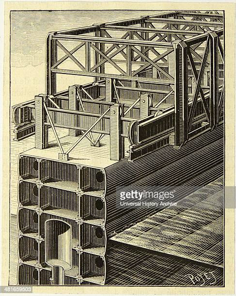 Sectional view of Gustave Eiffel's French engineer design for rolling gates on the Panama Canal Designed for the failed De Lesseps attempt of...