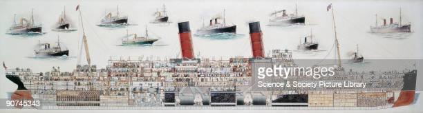 Sectional watercolour drawing showing a longtitudinal cutaway view of the transatlantic liner's eight decks Built at Clydebank as the Cunard...