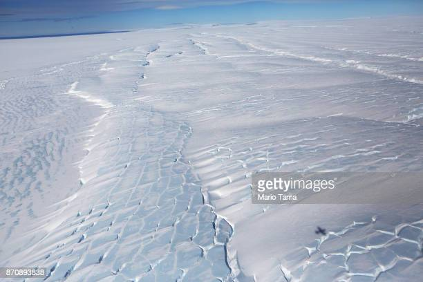 Sections of blue ice are viewed from NASA's Operation IceBridge research aircraft in the Antarctic Peninsula region on October 31 above Antarctica...