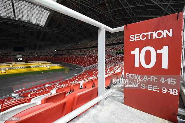 Sections of seats are seen inside the National Stadium at the Singapore Sports Hub on November 01 2014 in Singapore Another of the Sports Hub...