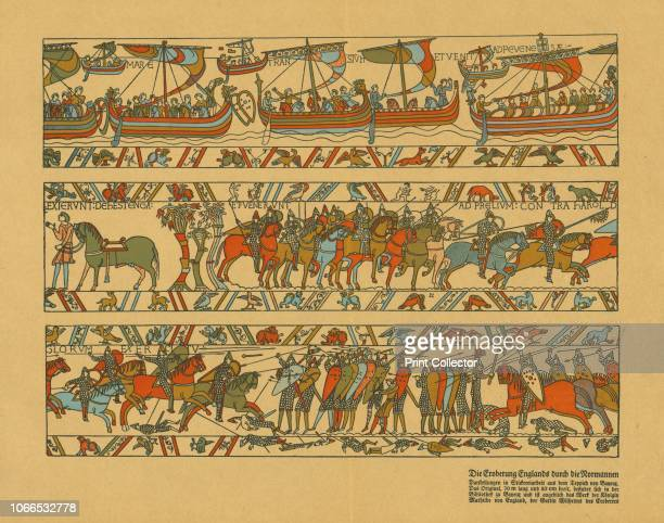 Sections of the Bayeux Tapestry Illustration of 3 sections of the famous embroidery depicting the Norman invasion of England in 1066 With German text...