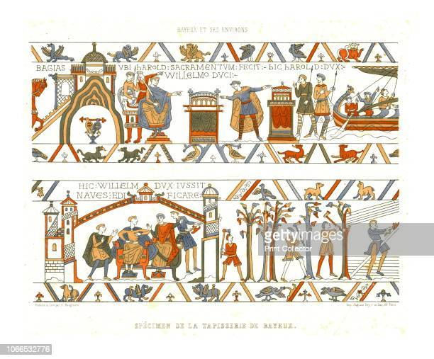 Sections of the Bayeux Tapestry Illustration of two sections from the famous embroidery depicting the Norman invasion of England in 1066 With French...
