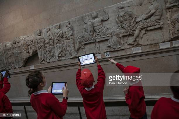 Sections of the Parthenon Marbles also known as the Elgin Marbles are displayed at The British Museum on November 22, 2018 in London, England.