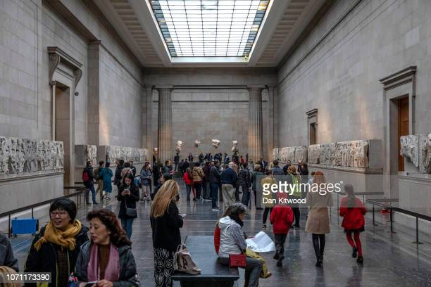 Sections of the Parthenon Marbles also known as the Elgin Marbles are displayed at The British Museum on November 22 2018 in London England