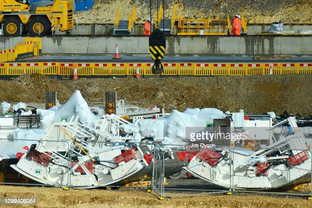 Sections of the tunnel boring machines are prepared at the construction site near the entrance to the HS2 Chiltern tunnel, on January 29, 2021 in...