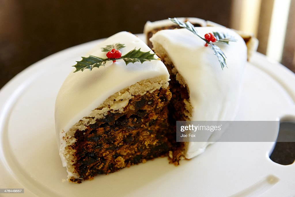 Sections of traditional home made Christmas cake : Stock Photo