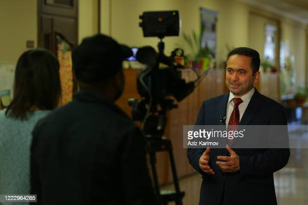 Sector chief of Education Ministry Jasarat Valehov speaks during an interview for local TV in SchoolLyceum N6 on May 5 2020 in Baku Azerbaijan The...