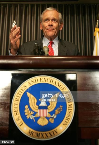 Securities and Exchange Commission Chairman William H Donaldson gestures as he announces his pending resignation at a media conference June 1 2005 in...
