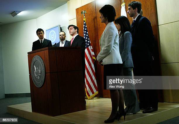 Securities and Exchange Commission Enforcement Director Robert Khuzami speaks as Los Angeles Regional Director Rosalind Tyson Associate Los Angeles...