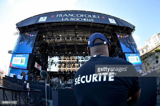 Security agent in charge of the security during the 34th edition of the Francofolies Music Festival in La Rochelle southwestern France on July 11 2018