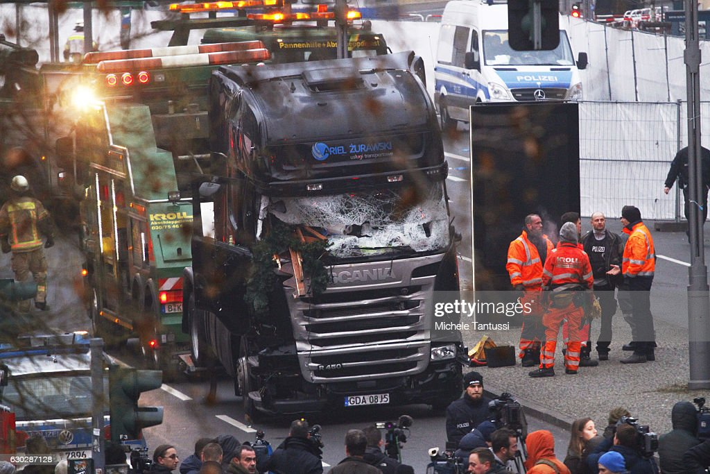 Lorry Truck Drives Through Christmas Market In Berlin : News Photo