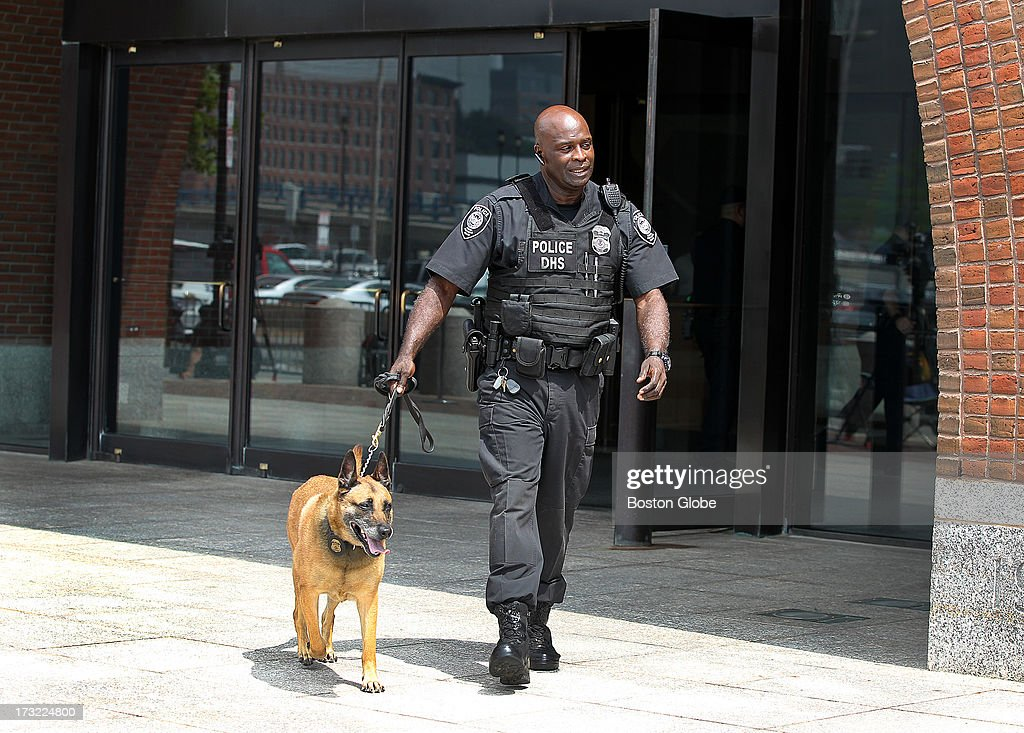 Security around the John Joseph Moakley United States Courthouse before the alleged Boston Marathon bombing suspect Dzhokhar Tsarnaev is charged on July 10, 2013.
