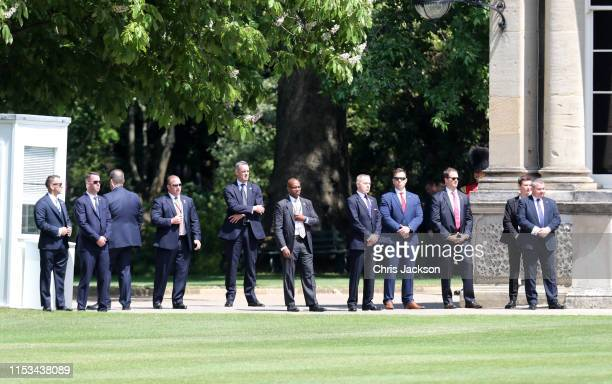 Security at Buckingham Palace during the visit of US President Donald Trump and First Lady Melania Trump on June 03 2019 in London England President...
