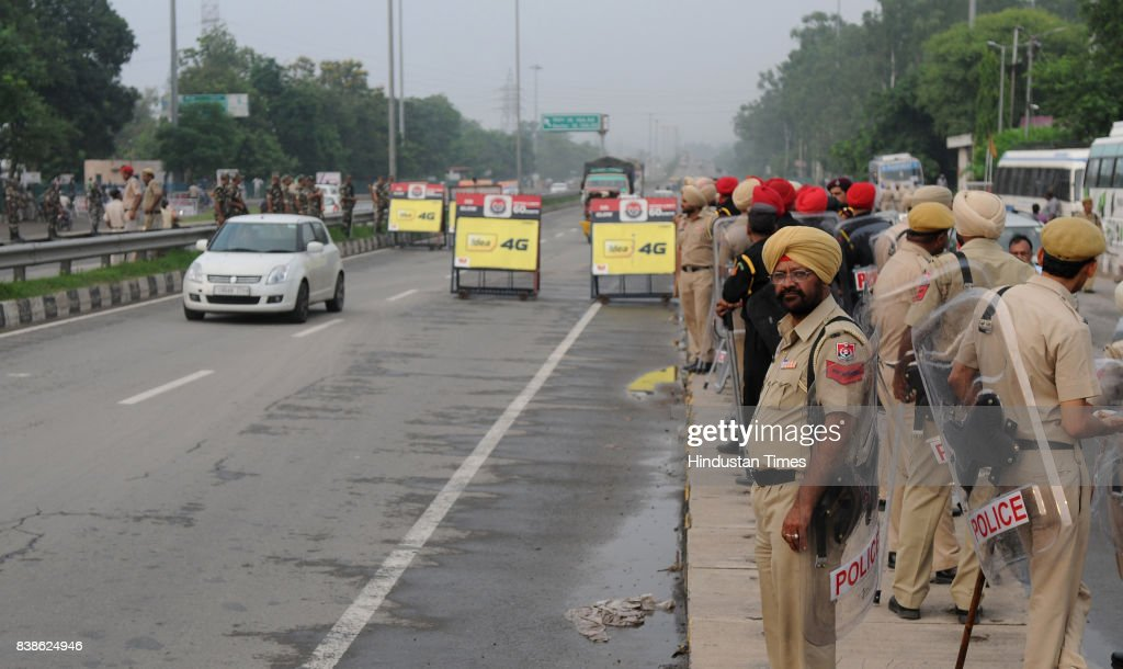 Security at PunjabHaryana border at Zirakpur on August 24 2017 in Panchkula India The godman was charged with rape of a female devotee in 1999 The...