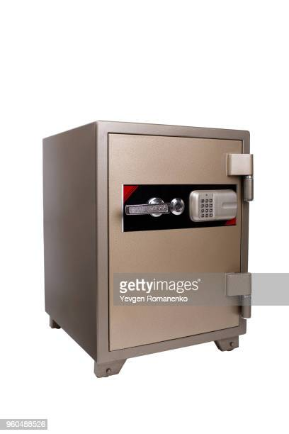 Security bank safe isolated on white background