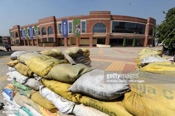 A security barrier is seen outside the Dhyan Chand National Stadium the venue for hockey during the 2010 Commonwealth Games in New Delhi India