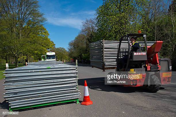 Security barriers are delivered to Winfield House in Regents Park ahead of US President Barack Obama's visit to the UK on April 20 2016 in London...