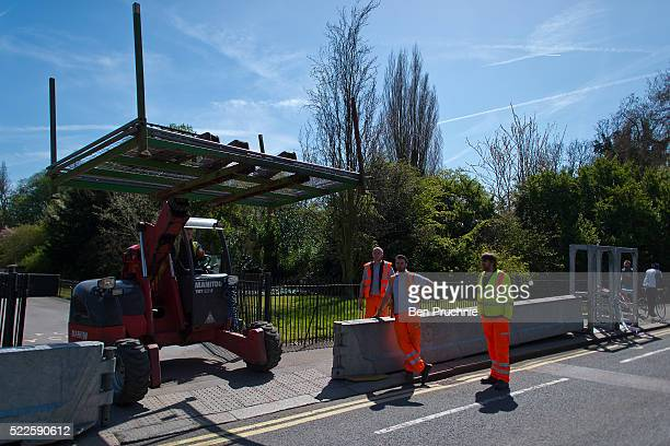 Security barriers are installed outside Winfield House in Regents Park ahead of US President Barack Obama's visit to the UK on April 20 2016 in...