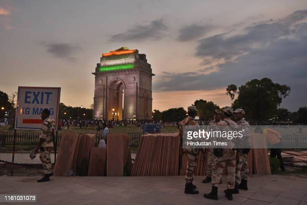 Security beefed up ahead of Independence Day, at India Gate, on August 11, 2019 in New Delhi, India.