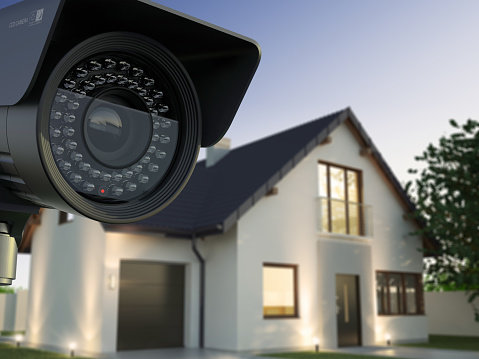 Security camera and house 1075472978